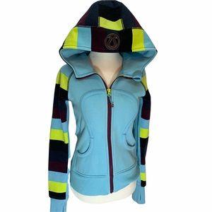 Lululemon Athletica Blue Scuba Hoodie Striped Sleeves Size 4 EUC